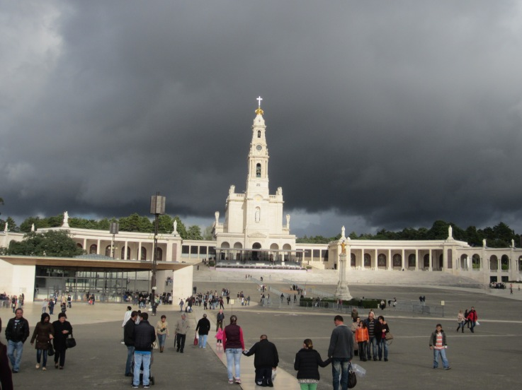 dramatic skyline over Fatima's church in Portugal