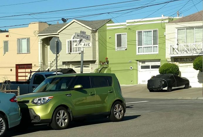 green car outer sunset